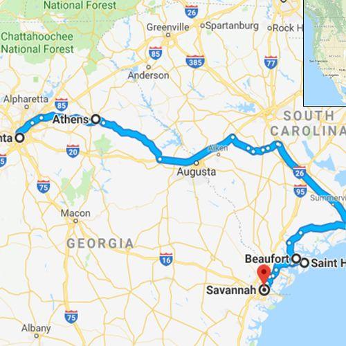 Afbeelding van Deze route legde Geraldine door de USA af